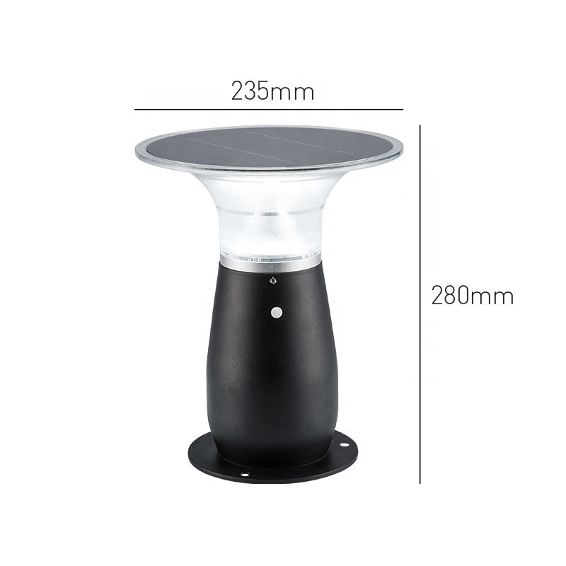 28CM Modern Style IP65 Waterproof Die-Cast Aluminum 3W Led Solar Mushroom Garden Bollard Light