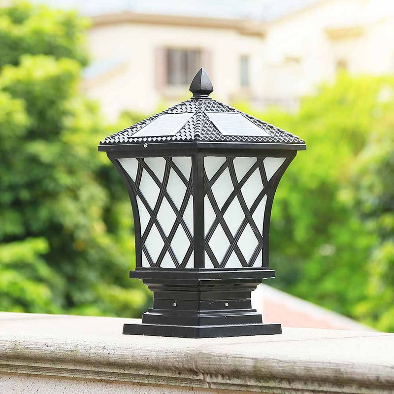 2W 3W Outdoor Aluminum Led Solar Pillar Light Within Lithium Battery Backup