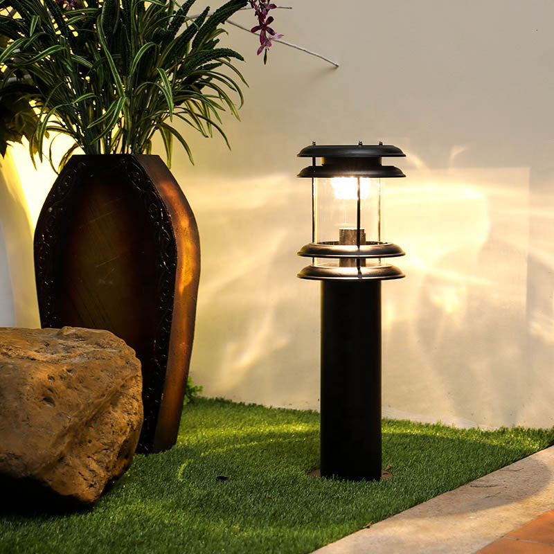 30CM 60CM 80CM Iron Lamp Body Material and IP55 IP Rating Outdoor Solar Garden Bollard light for Path Landscape