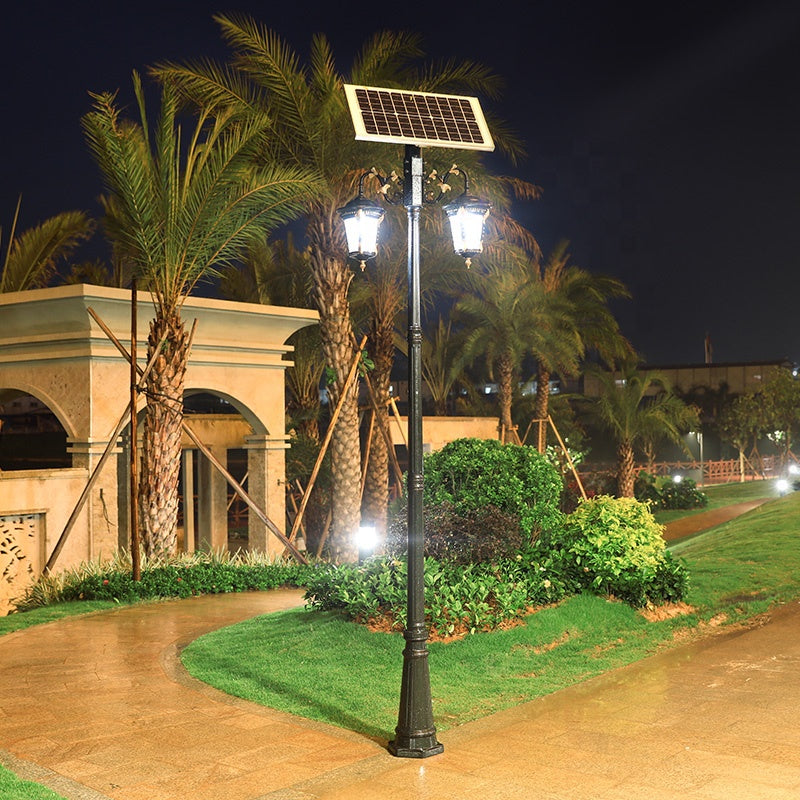 7W 2.8M Double Arm Outdoor Landscape Pathway Patio Garden Led Solar Street Light With Pole