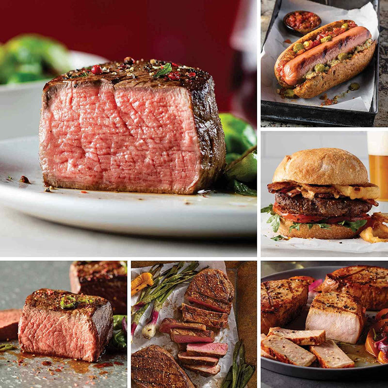 Omaha Steaks Steaks & More Christmas Gift (20-Piece with Boneless New York Strips, Filet Mignons, Top Sirloins, Pork Chops, Burgers, Jumbo Franks, Potatoes au Gratin)