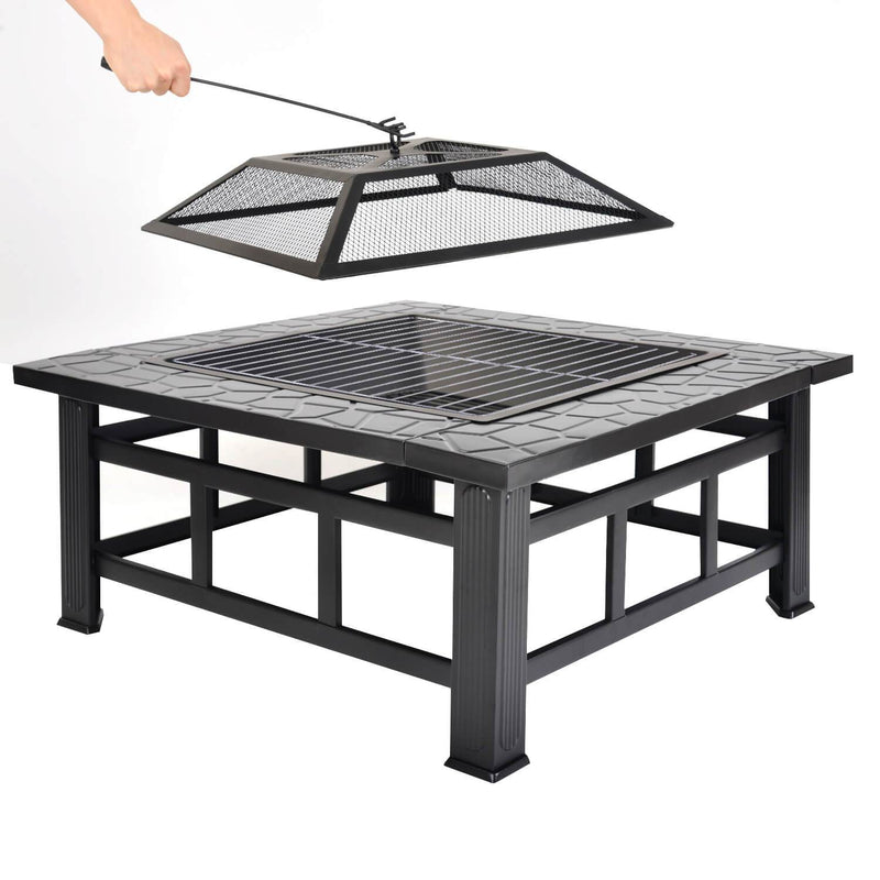 Outdoor Fire Pit with BBQ Grill Shelf