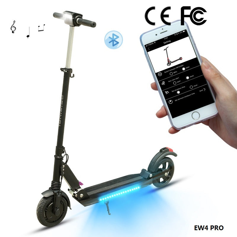 Folding Electric Scooter LCD Display Screen 8.5 Inches Solid Rear Anti-Skid Tire With Bluetooth and APP - Black-Europe Shipping