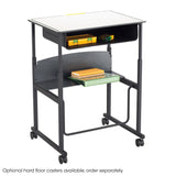 "AlphaBetter® Adjustable-Height Stand-Up Desk, 28 x 20"" Standard Top, Book Box and Swinging Footrest Bar"