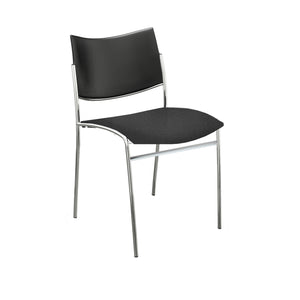 Escalate Chair, Plastic Back, Black Fabric Seat