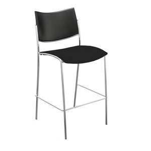 Escalate Stool, Plastic Back, Black Fabric Seat