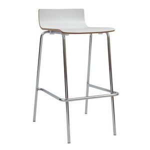 OfficeSource Bleecker Street Cafe Seating Collection Cafe Height, Low Back Wood Stool with Chrome Base in [variant_title] - Office Furniture Seating by OfficeSource - Only at the-eggleston-group