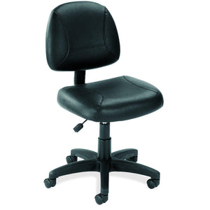 OfficeSource Effort Collection Black Leather Armless Deluxe Posture Chair with Black Frame in [variant_title] - Office Furniture Seating by OfficeSource - Only at the-eggleston-group