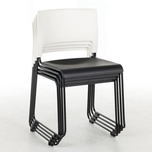 OfficeSource Mario Seating Armless Stackable Side Chair, White Back and Black Seat with Black Frame in [variant_title] - Office Furniture Seating by OfficeSource - Only at the-eggleston-group