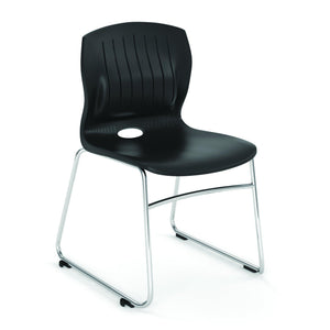 OfficeSource Slash Collection Armless Sled Base Stack Chair with Chrome Frame in [variant_title] - Office Furniture Seating by OfficeSource - Only at the-eggleston-group