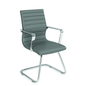 OfficeSource Tre Collection Executive Guest Sled Base Chair with Chrome Frame in [variant_title] - Office Furniture Seating by OfficeSource - Only at the-eggleston-group