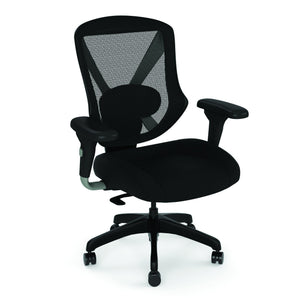 OfficeSource Viking Collection Mid Back Mesh Task Chair with Fabric Seat and Black Base in Black Fabric Seat - Office Furniture Seating by OfficeSource - Only at the-eggleston-group
