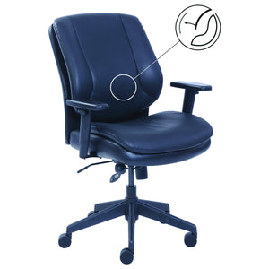 OfficeSource Wellness Collection Task Mid Back Chair with Black Frame in Black Bonded Leather - Office Furniture Seating by OfficeSource - Only at the-eggleston-group