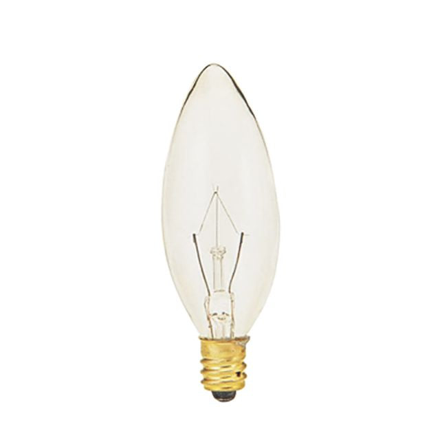 Set/6 25 Watt Clear Candelabra Base Bulb