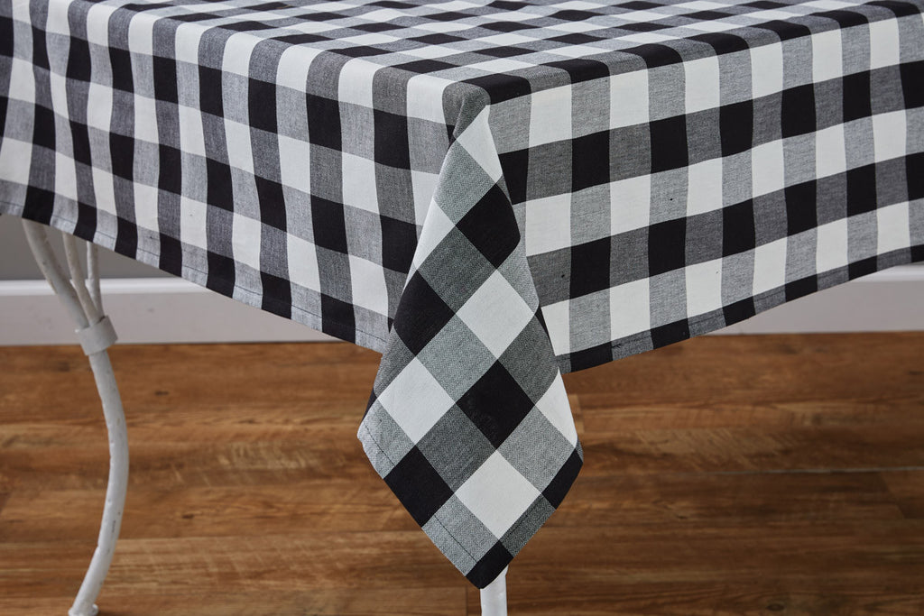 "Table Cloth 54"" x 54"" - Wicklow Check Black & Cream"