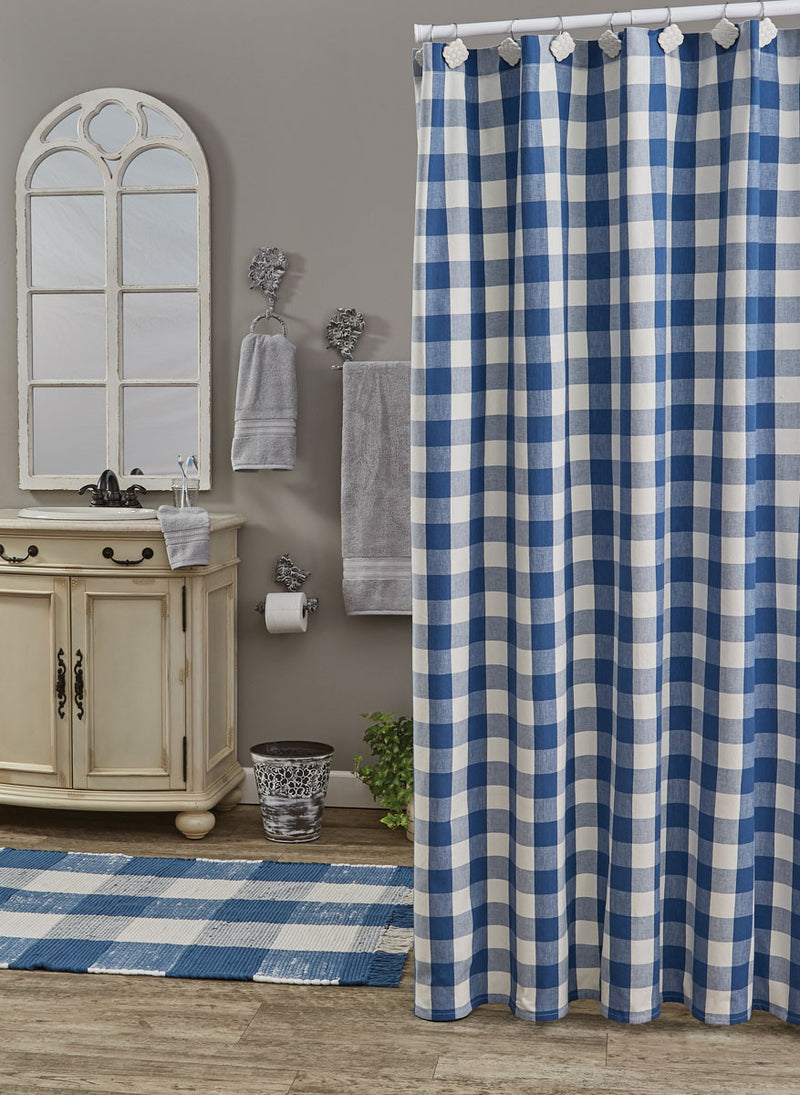 Shower Curtain - Wicklow Check China Blue