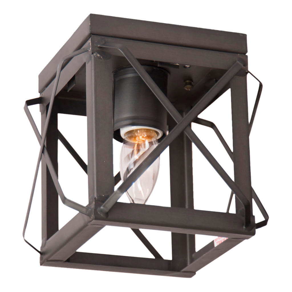 Single Ceiling Light with Folded Bars in Kettle Black
