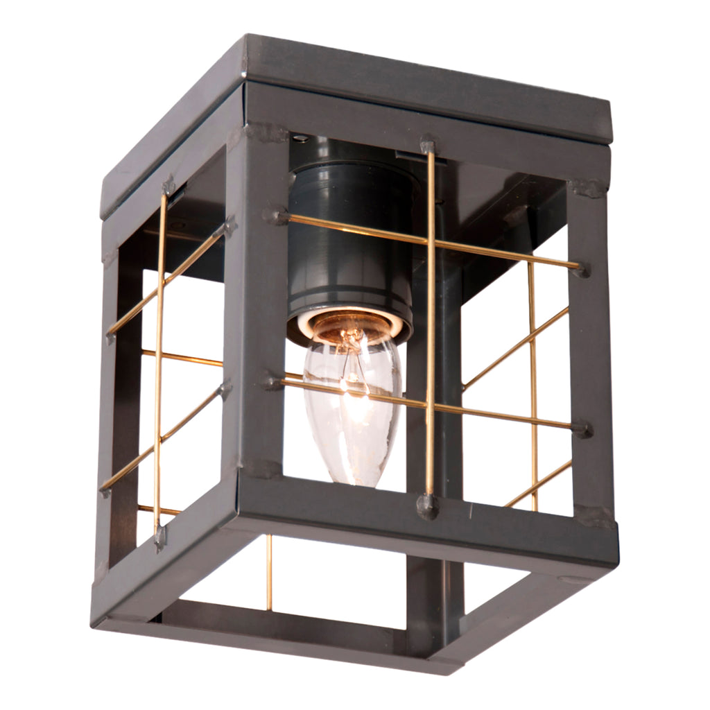 Single Ceiling Light with Brass Bars in Country Tin