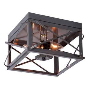 Double Ceiling Light with Folded Bars in Country Tin