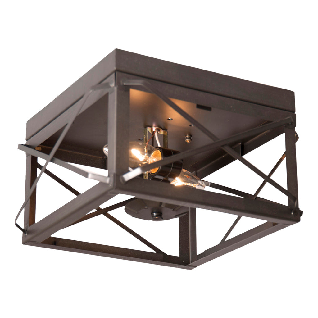 Double Ceiling Light with Folded Bars in Kettle Black
