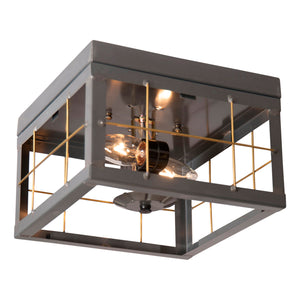 Double Ceiling Light with Brass Bars in Country Tin