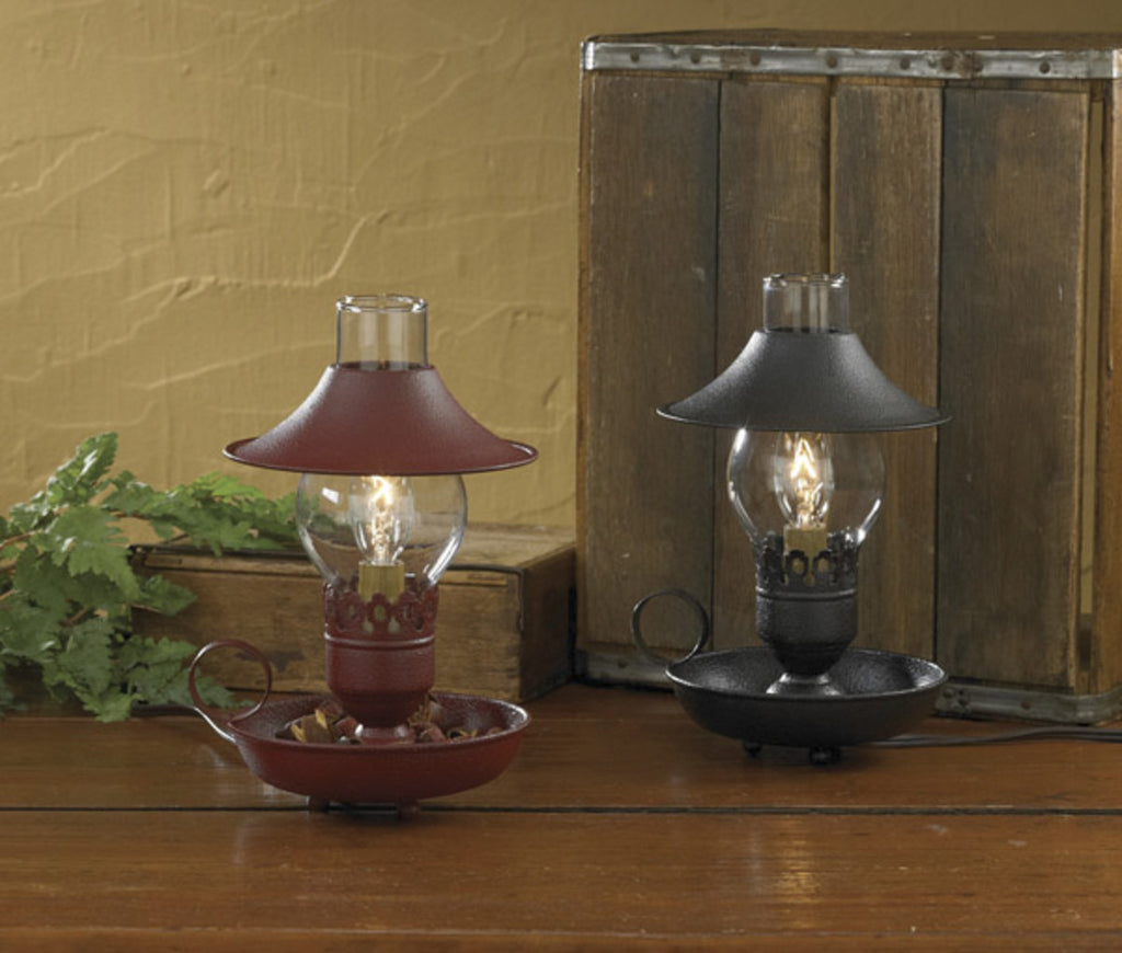 Chamberstick Lamp with Shade Red