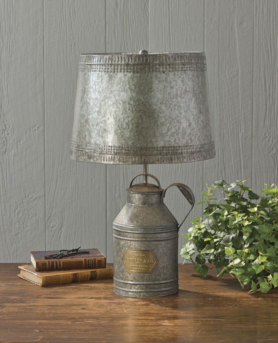 "Antique Milk Can Lamp with 14"" Tin Shade"