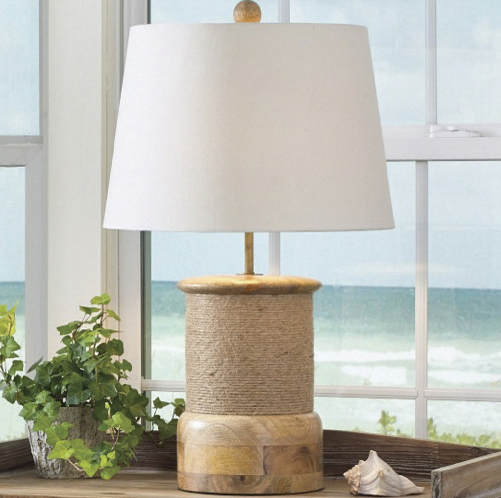 "Rope Wrap Wood Lamp with 15"" Shade"