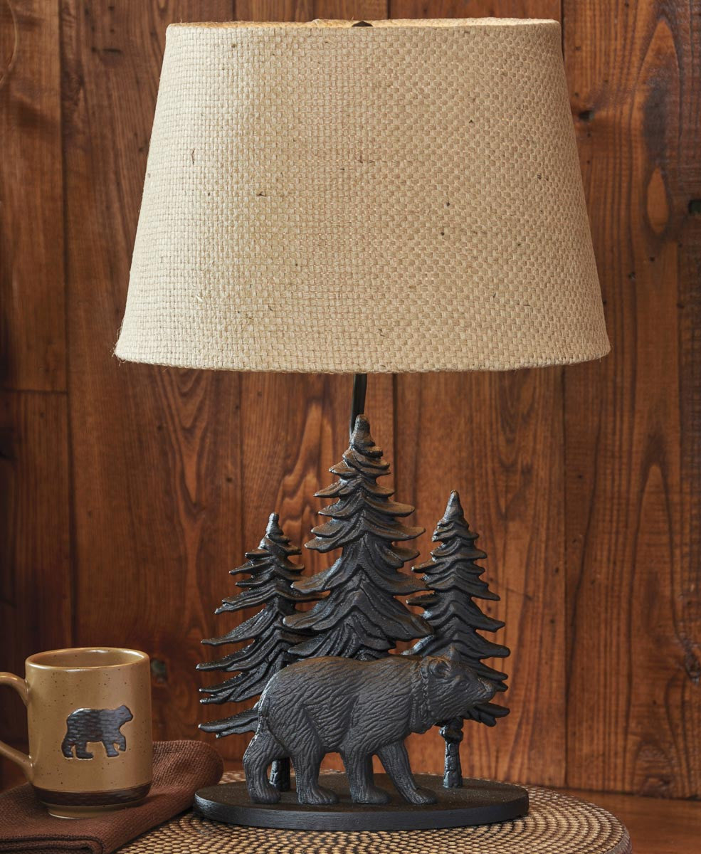 "Black Bear Lamp with 14"" Shade"