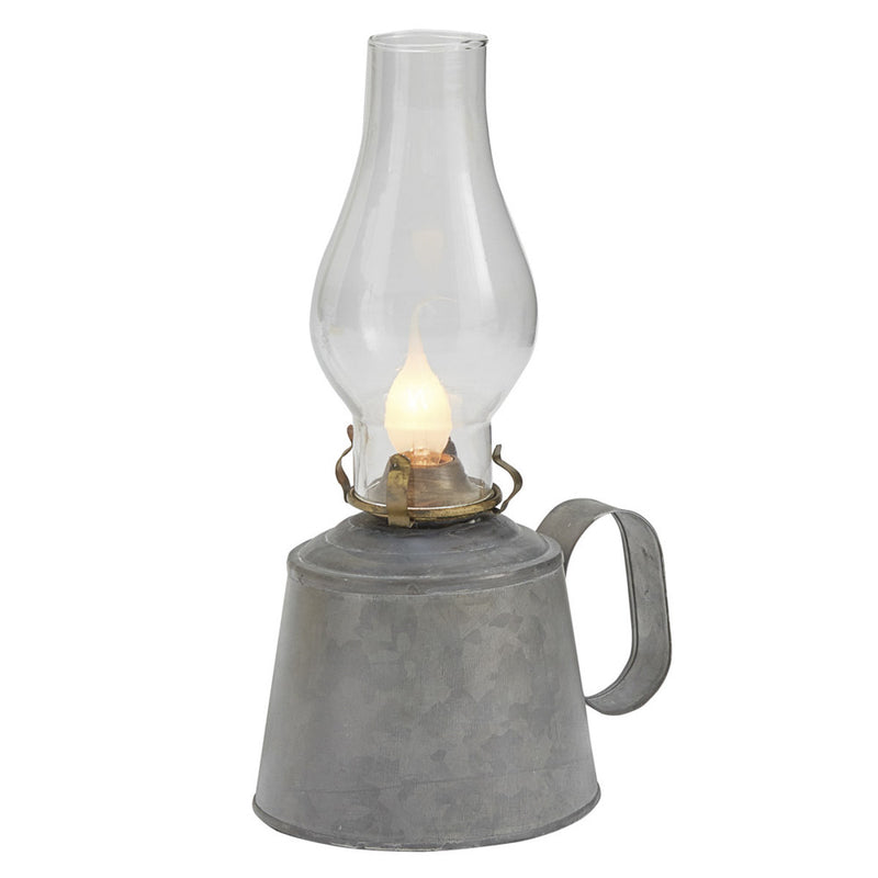 Small Galvanized Oil Lamp with Globe