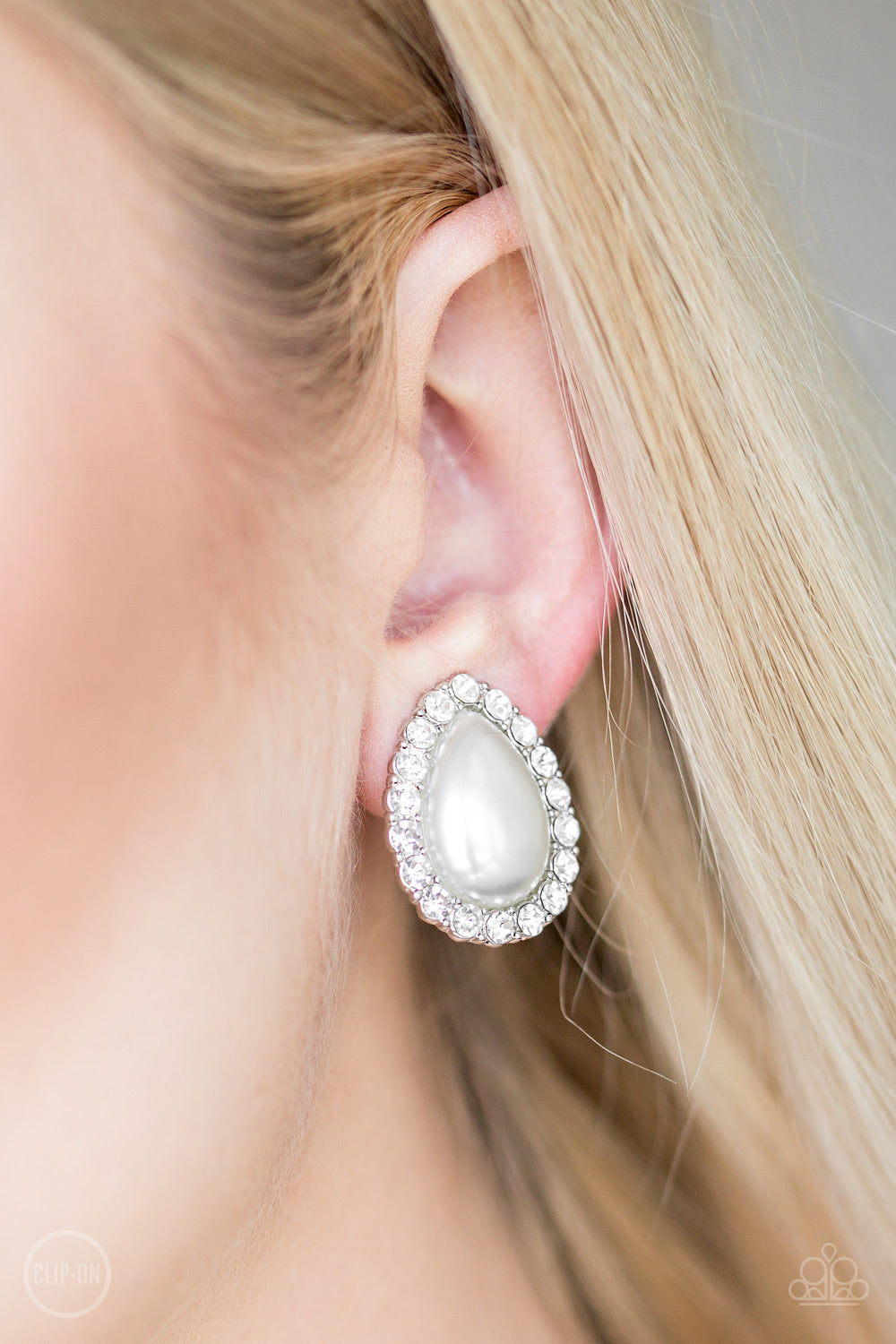 Paparazzi Dapper Dazzle - White Clip-On Earrings