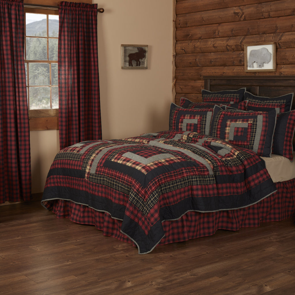 Cumberland Quilted Collection - rustic patchwork in red, black and charcoal.