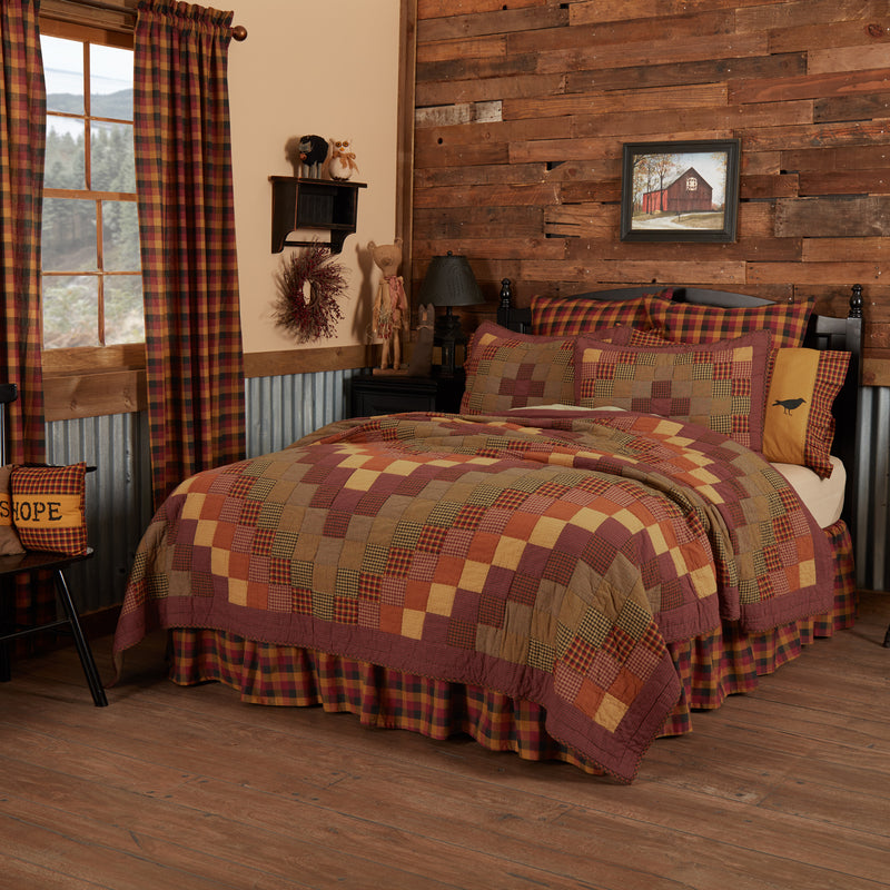 Heritage Farms Quilted Collection - black, burgundy, mustard patchwork with crows, sheep and stars