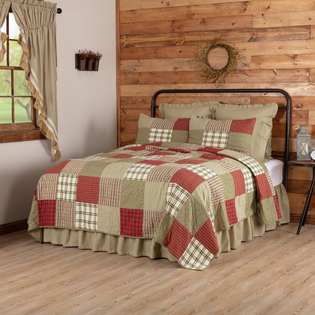 Prairie Winds Quilted Collection - brick red, sage and khaki patchwork
