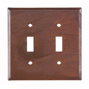 Double Switch Cover Unpierced in Rustic Tin