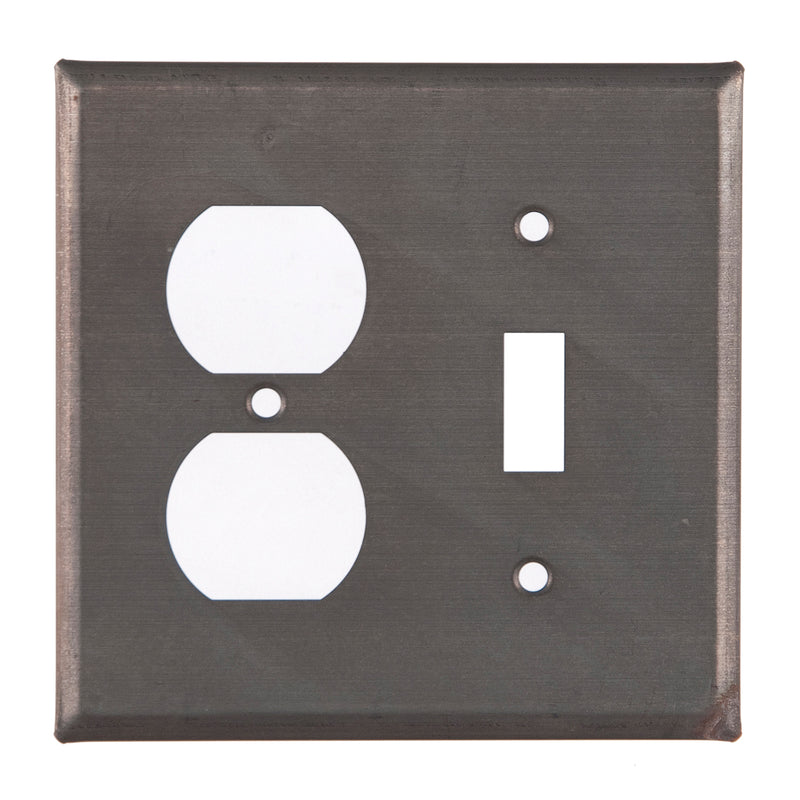 Outlet and Switch Cover Unpierced in Blackened Tin