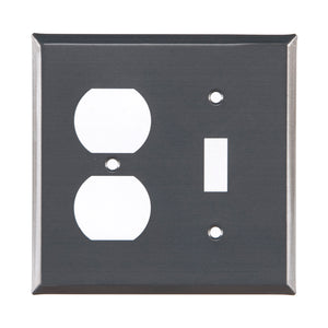 Single Outlet and Switch Unpierced Cover in Country Tin