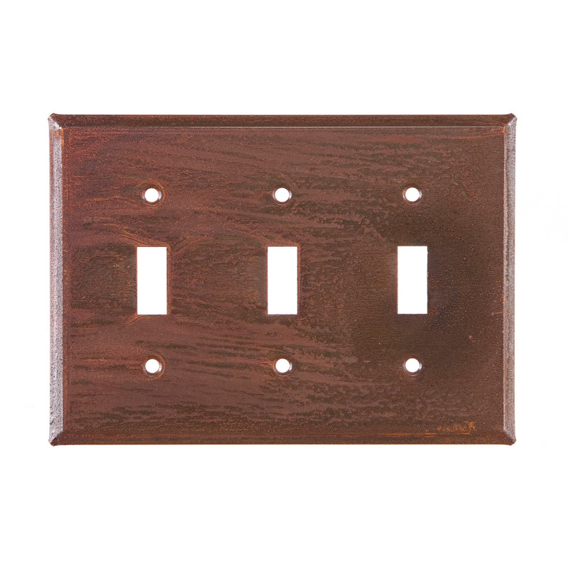 Triple Switch Cover Unpierced in Rustic Tin