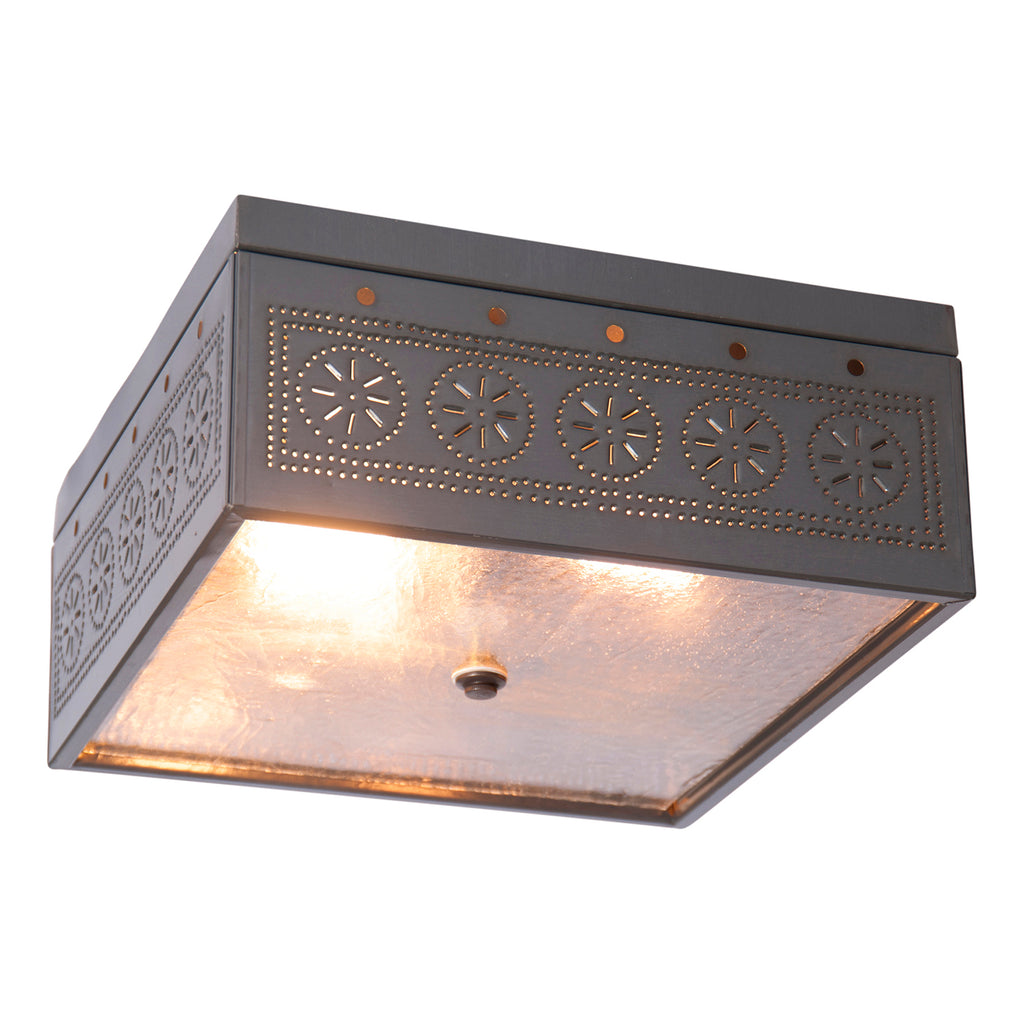 Square Ceiling Light with Chisel in Country Tin