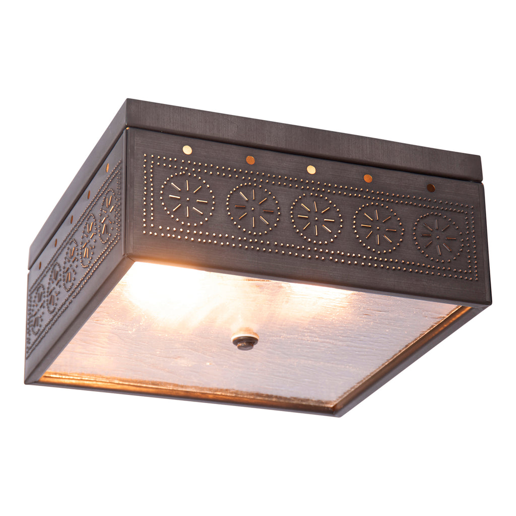 Square Ceiling Light with Chisel in Kettle Black