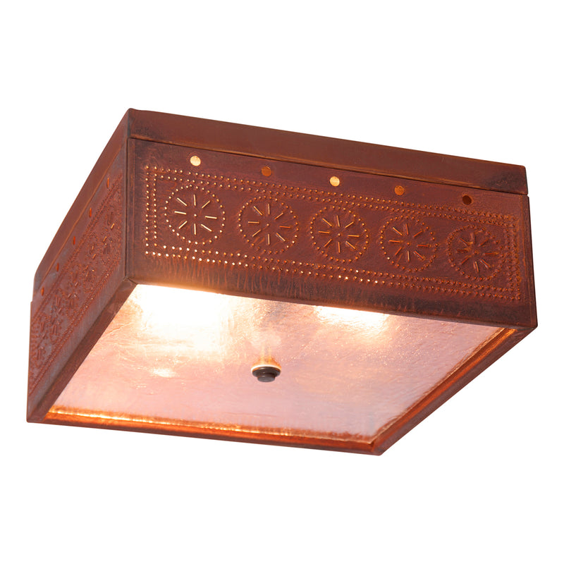 Square Ceiling Light with Chisel in Rustic Tin
