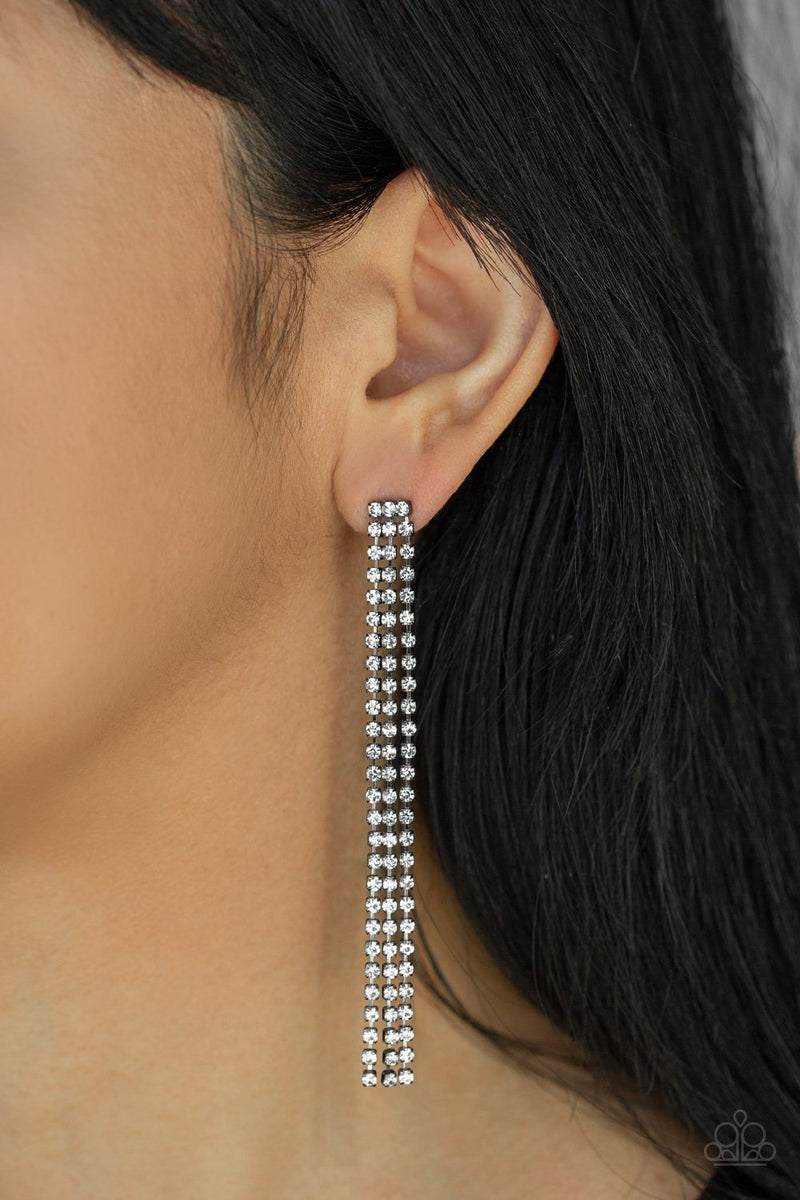 Paparazzi Stellar Starlight - Black Earrings