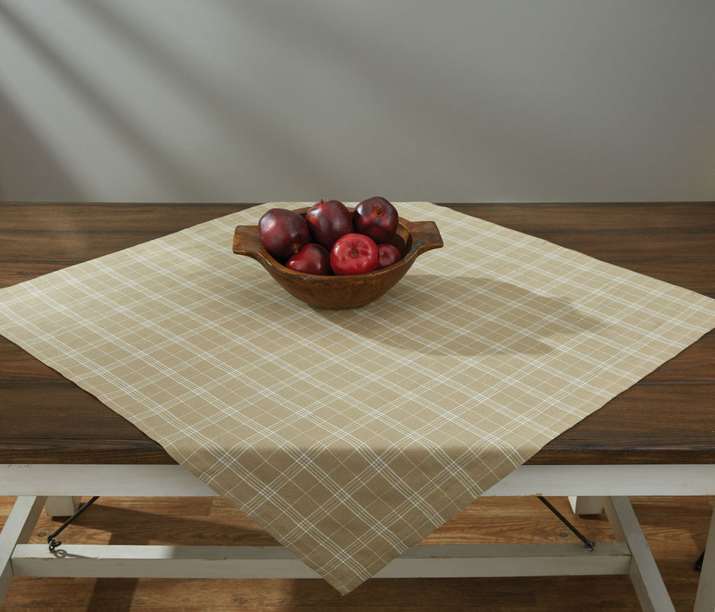 "Table Cloth / Table Square 36"" x 36"" - Fieldstone Plaid Cream"