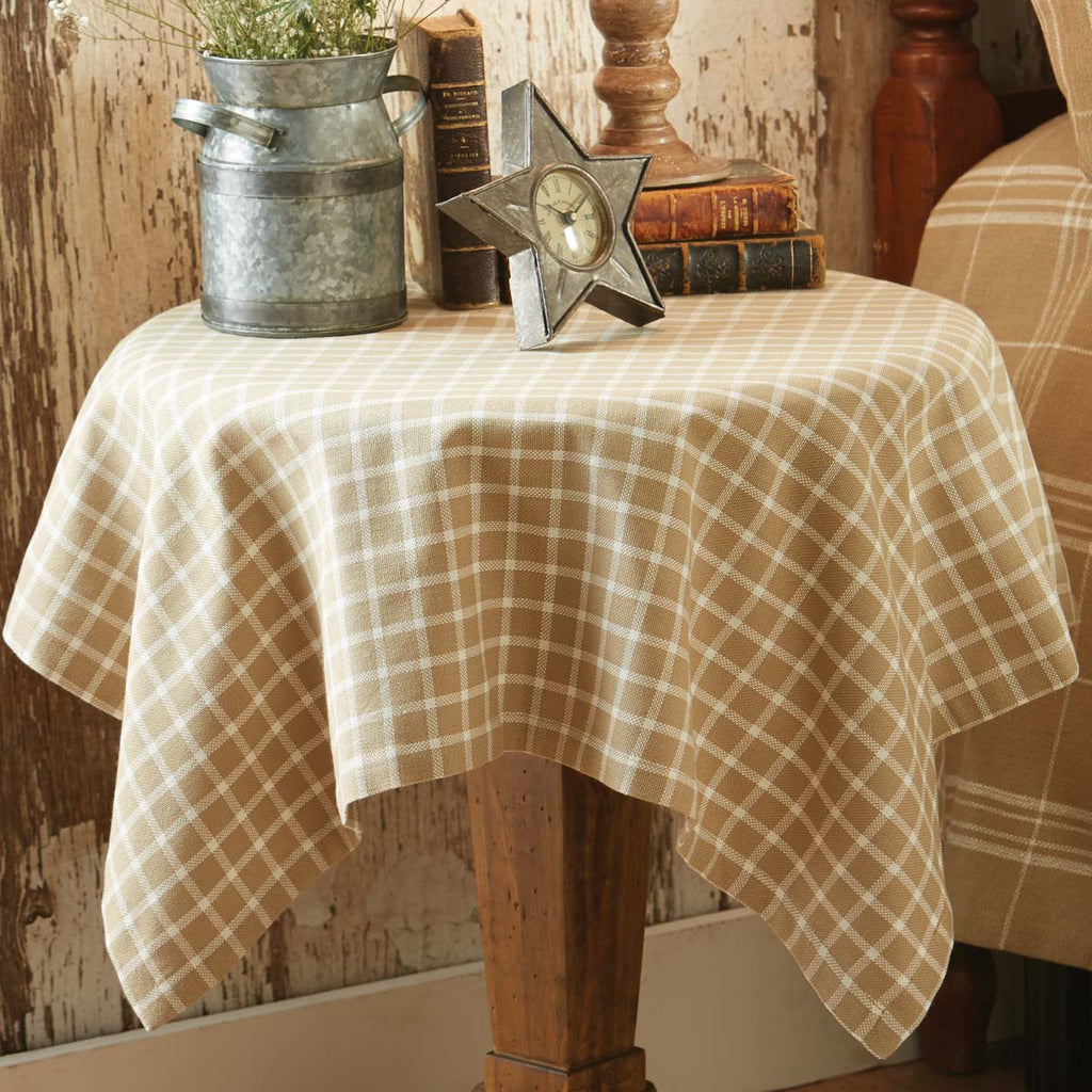 "Table Cloth / Table Square 36"" x 36"" - Stoneboro Check Cream"
