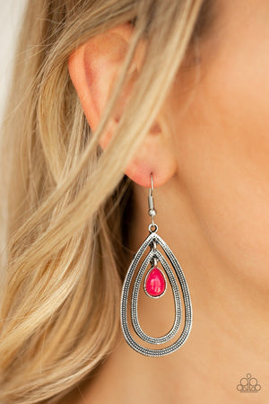 Paparazzi Drops of Color - Pink Earrings