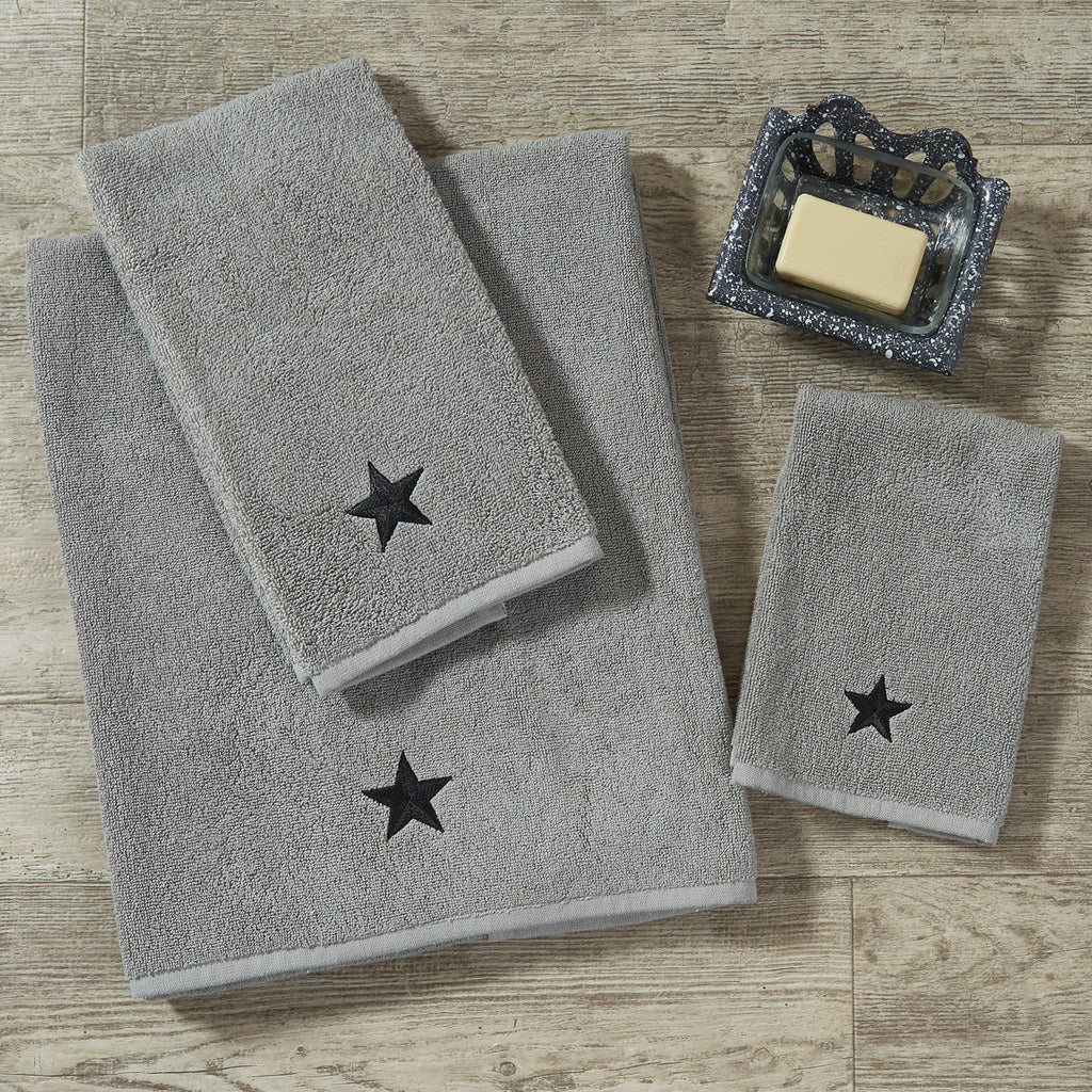 Fingertip Towel ~ Grey with Black Stars