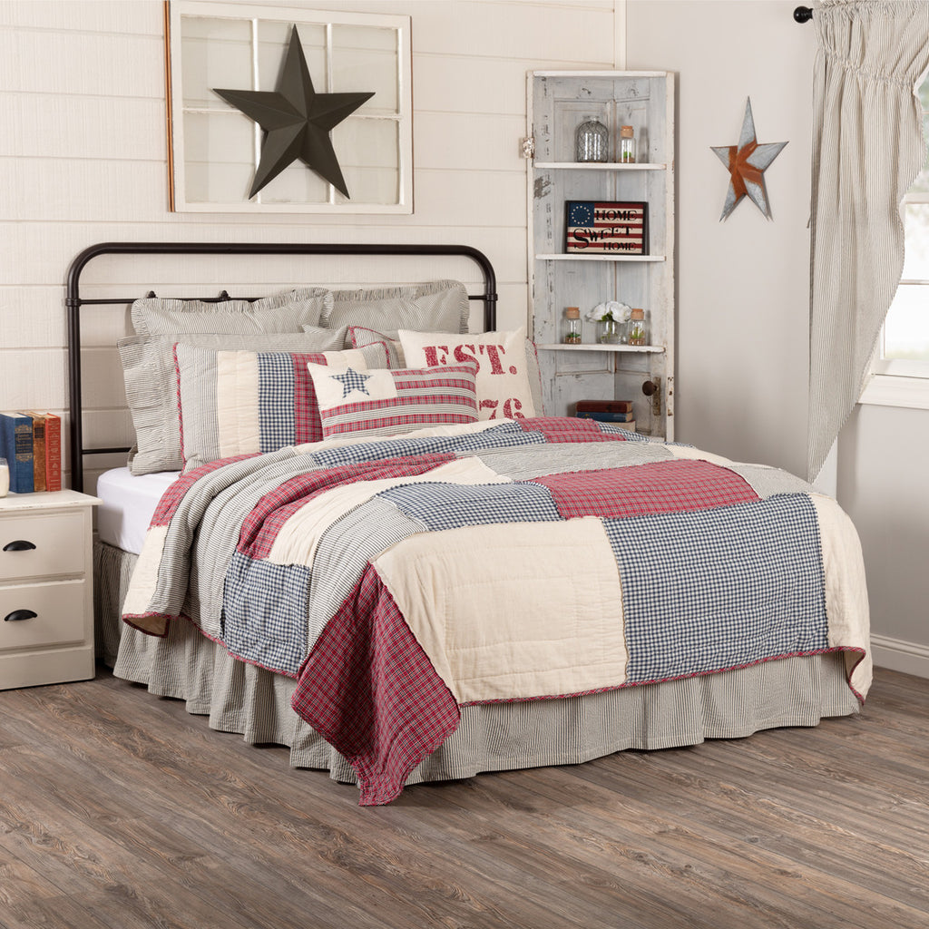 Hatteras Patch Quilted Collection ~ red, white and blue americana inspired patchwork design.