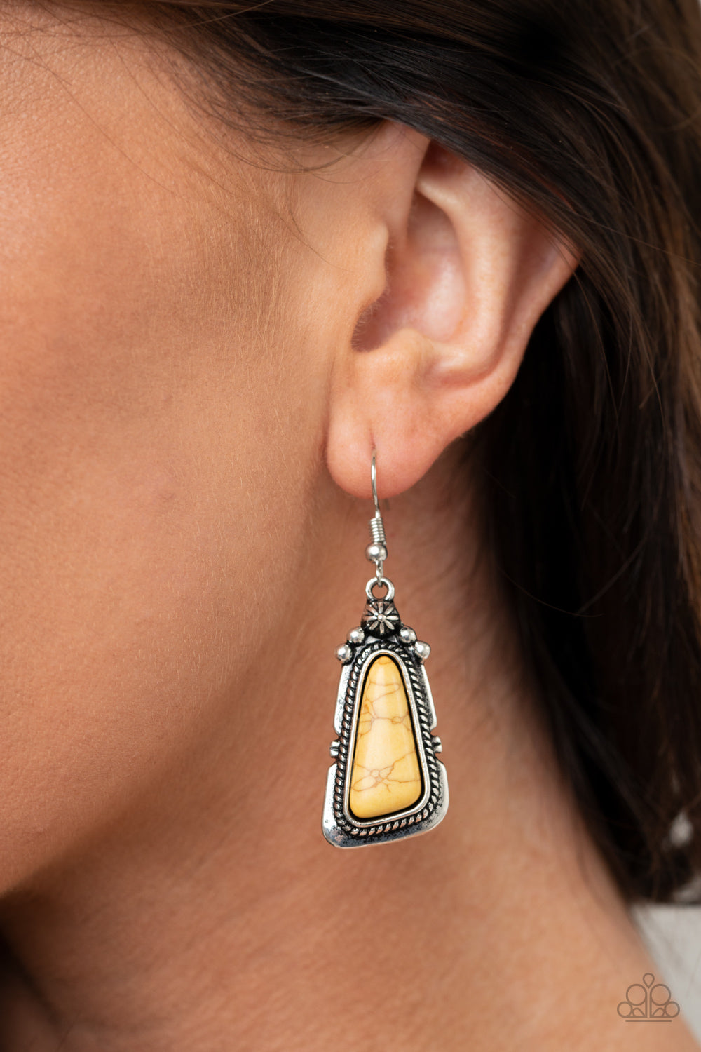 Paparazzi Sahara Solitude - Yellow Earrings