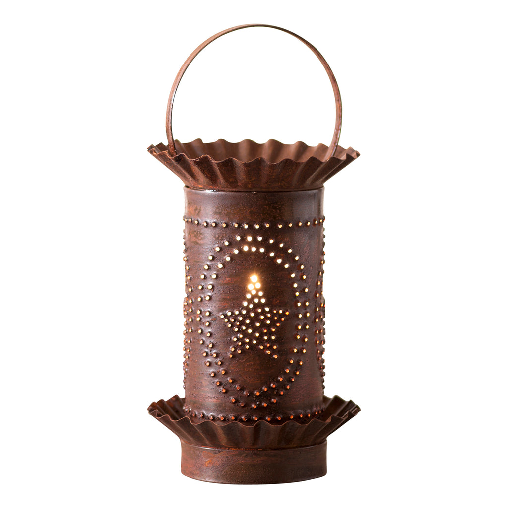 Mini Wax Warmer with Star Oval Design in Rustic Tin
