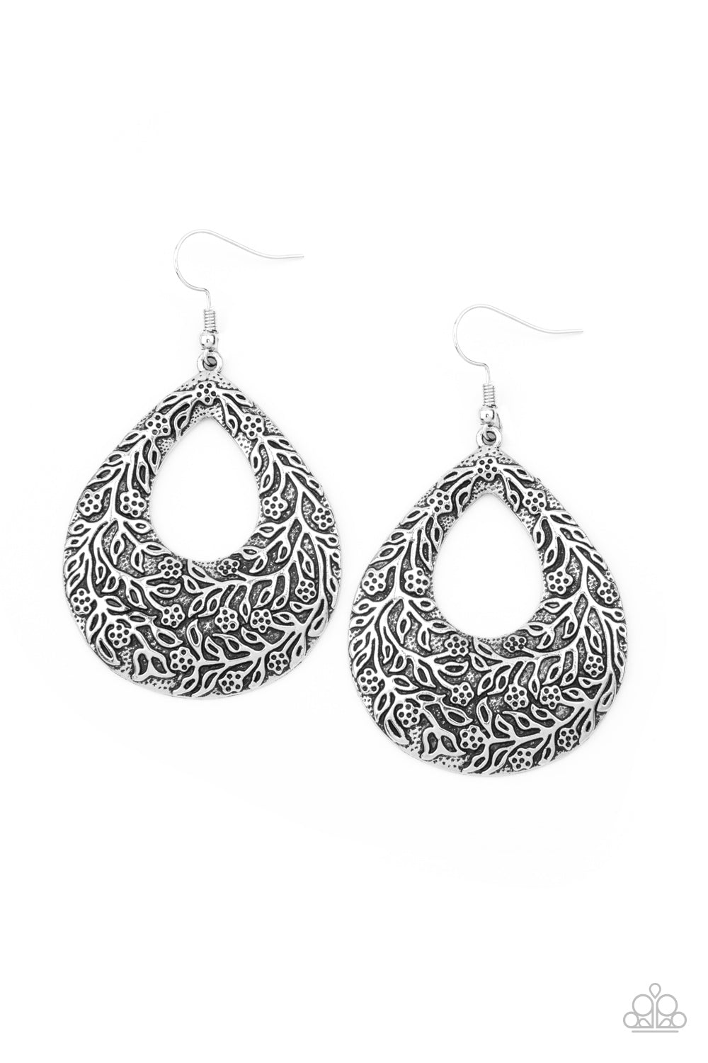 Paparazzi Flirtatiously Flourishing - Silver Earrings
